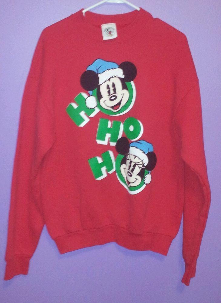 Womens Christmas Sweatshirt Size L Mickey Minnie Mouse Ho Ho Ho Walt