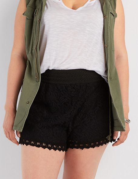 Plus Size Crochet Trim Lace Shorts Wow Lace Shorts Lace