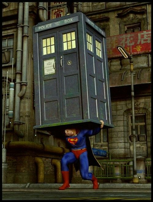 Superman gives the Tardis a lift