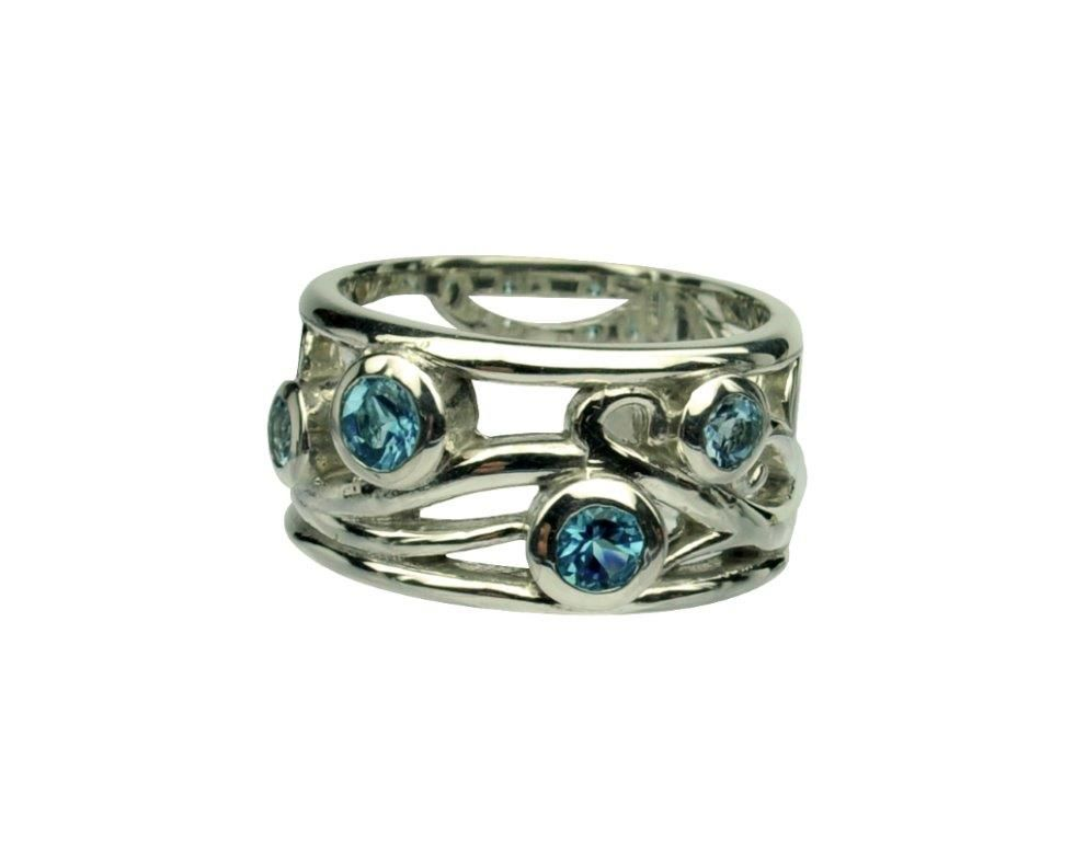 Great Spring / Summer Ring! 10mm wide band with flowing vines featuring Two 4mm Blue Topaz Two 3mm Aquamarine in Argentium Silver – Sz 8 Can be done as a modern family ring featuring family birthstones upon request prices may vary based on stones selected More or less stones can be added Please contact