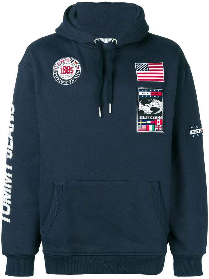 595fa5d2 Tommy Jeans patchwork Expedition hoodie | Products | Patchwork jeans ...