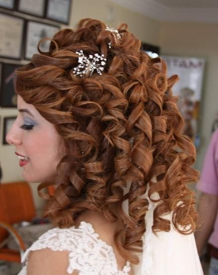 Wedding Hairstyles With Long Curly Half Up Down