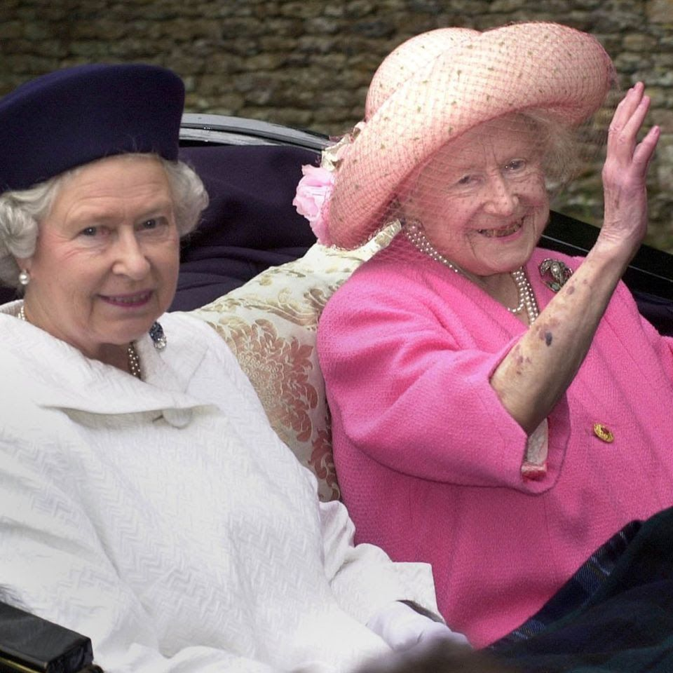 Queen Elizabeth II (left) and the Queen Mother leaving church by ...