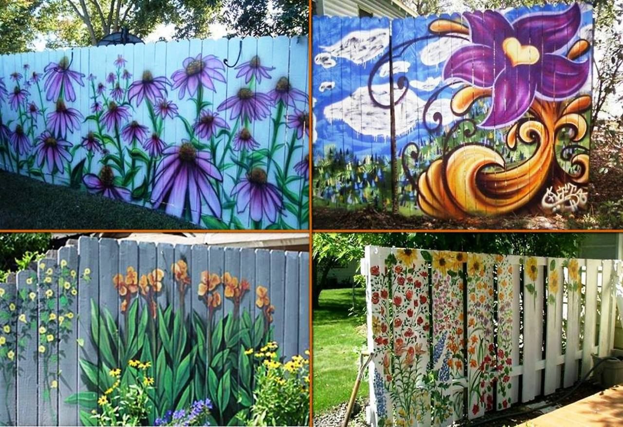 create year round color with painted flower fences garden art