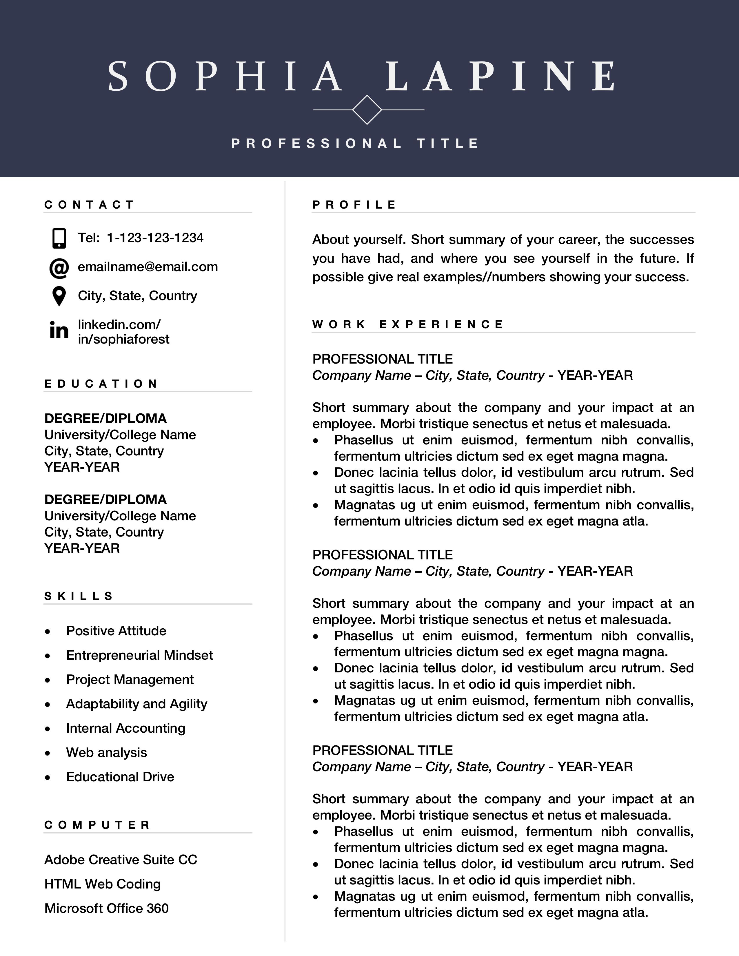 Professional Resume Template Design Editable Resume For Office Admin Or Marketing Executive Resume Design With Cover Letter Mac And Pc Resume Template Word Resume Template Professional Resume Template