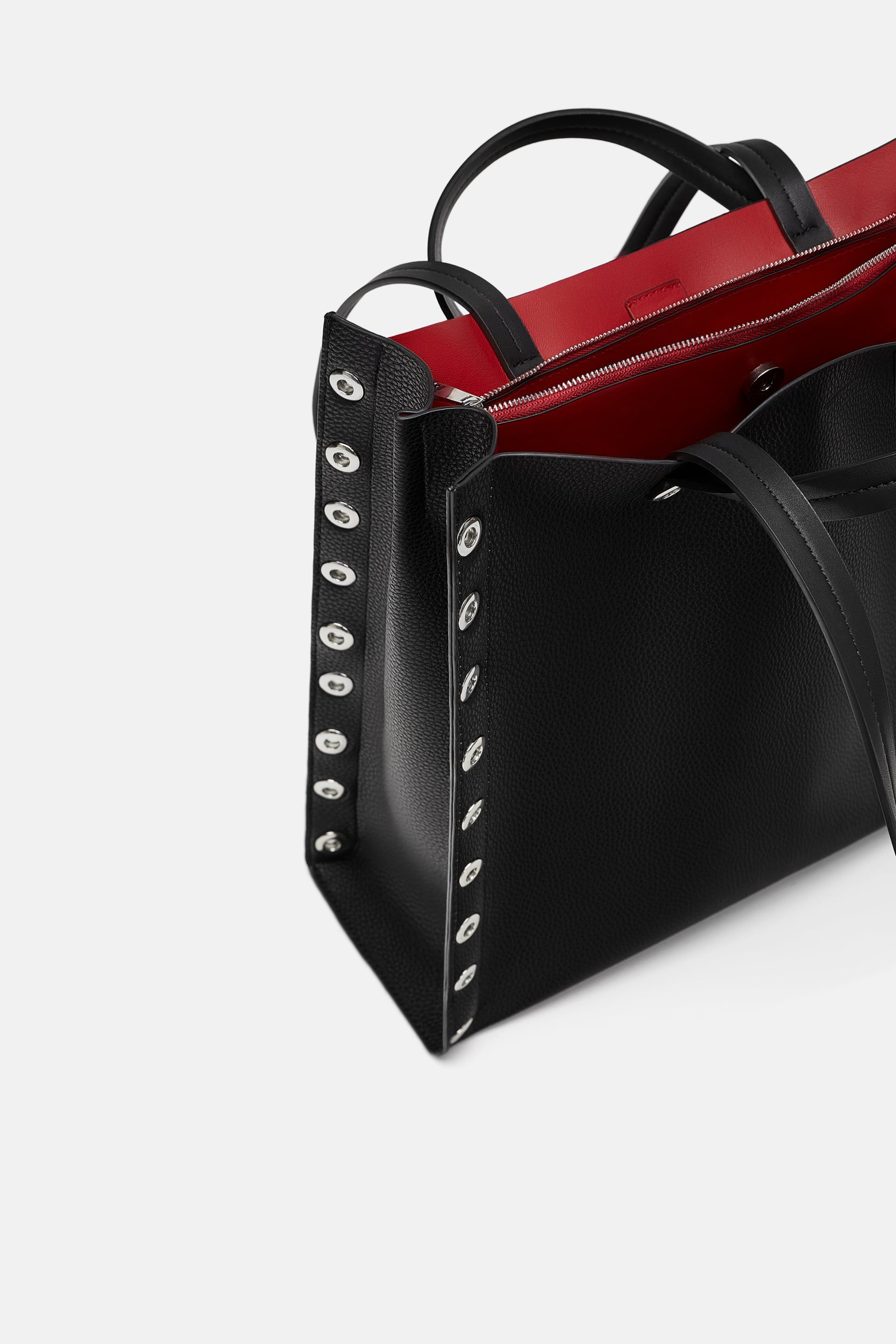 Zip Tote Bag With Studded Sides In 2020 Bags Black Tote