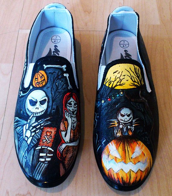 Cool Nightmare Before Christmas Gifts: Nightmare Before Christmas Hand Painted Pumps On Etsy, $55