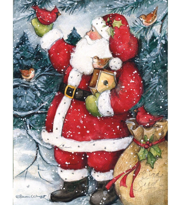 Holiday Cheer Snowy Santa Boxed Cards | printables | Pinterest ...