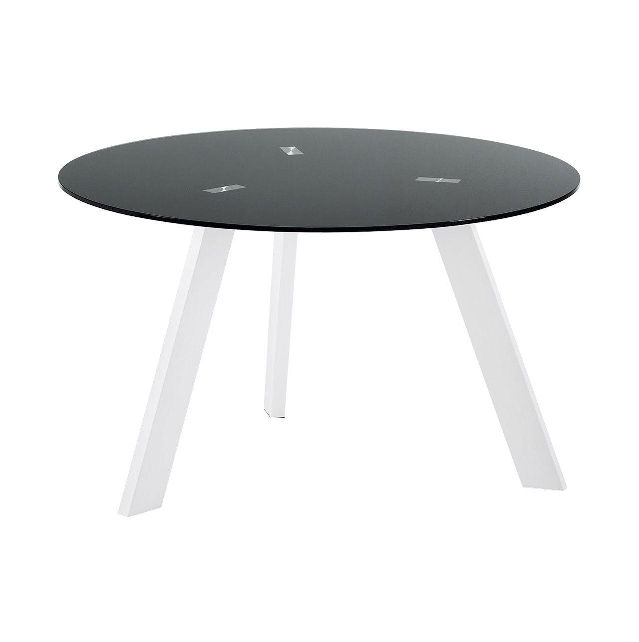Mesa de #comedor #redonda de cristal #negro con patas color blanco ...