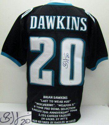 Brian Dawkins Autographed Philadelphia Eagles Black Custom Stat Jersey JSA  .  249.00. Featured is a a3571d934