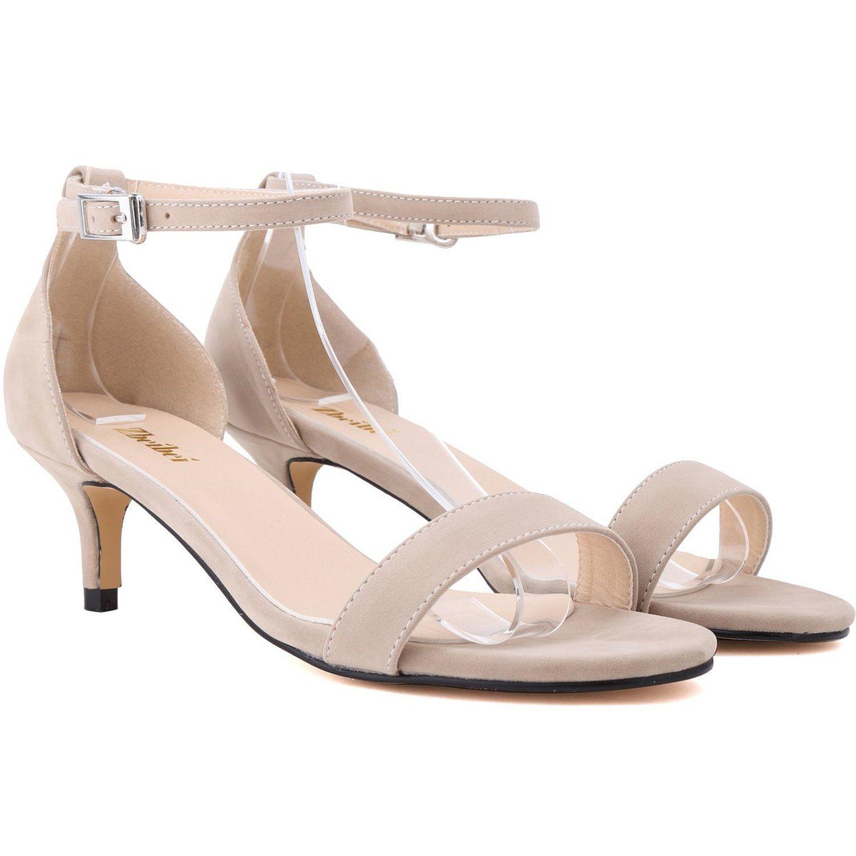 Amazon.com: Zbeibei Women's Mid Heels Open Toe Faux Velvet Summer Shoes Buckle Up Sandals(ZBB1051VE38,nude): Shoes
