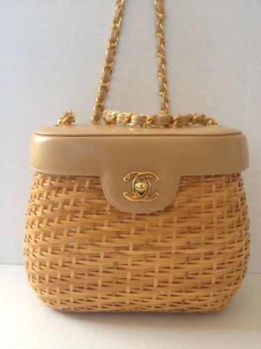 fadc8ace4263 Vintage Chanel Wicker Straw Leather Basket Shoulder Bag Clutch