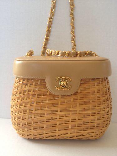 Vintage Chanel Wicker Straw Leather Basket Shoulder Bag Clutch  4283a976b6403