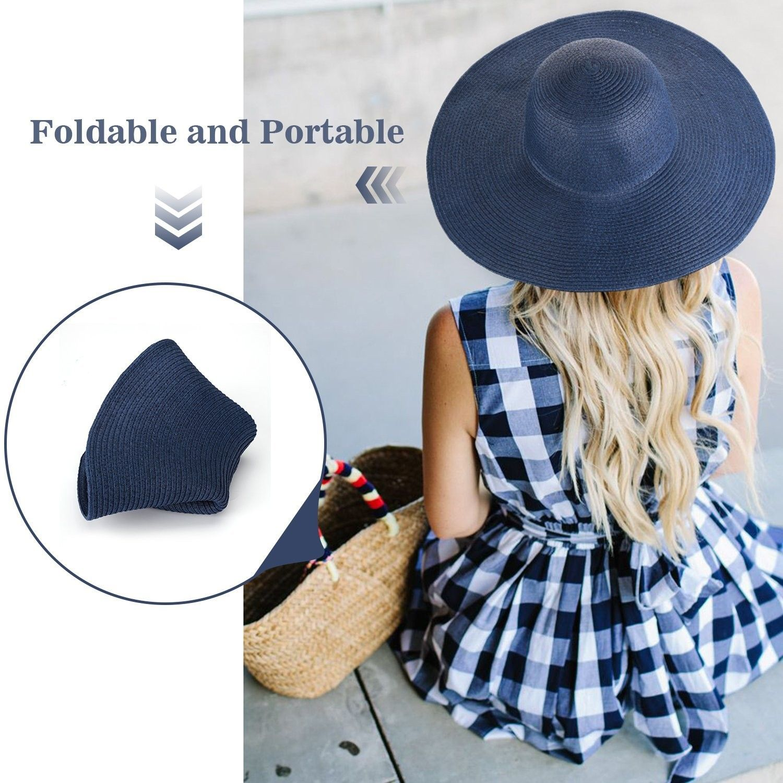 254e51c5 Hats & Caps, Women's Hats & Caps, Sun Hats, Women's Ridge Wide Floppy Brim  Sun Hat Beachwear Striped Straw Hat Foldable and Packable - Blue -  CI189W8GDCN ...