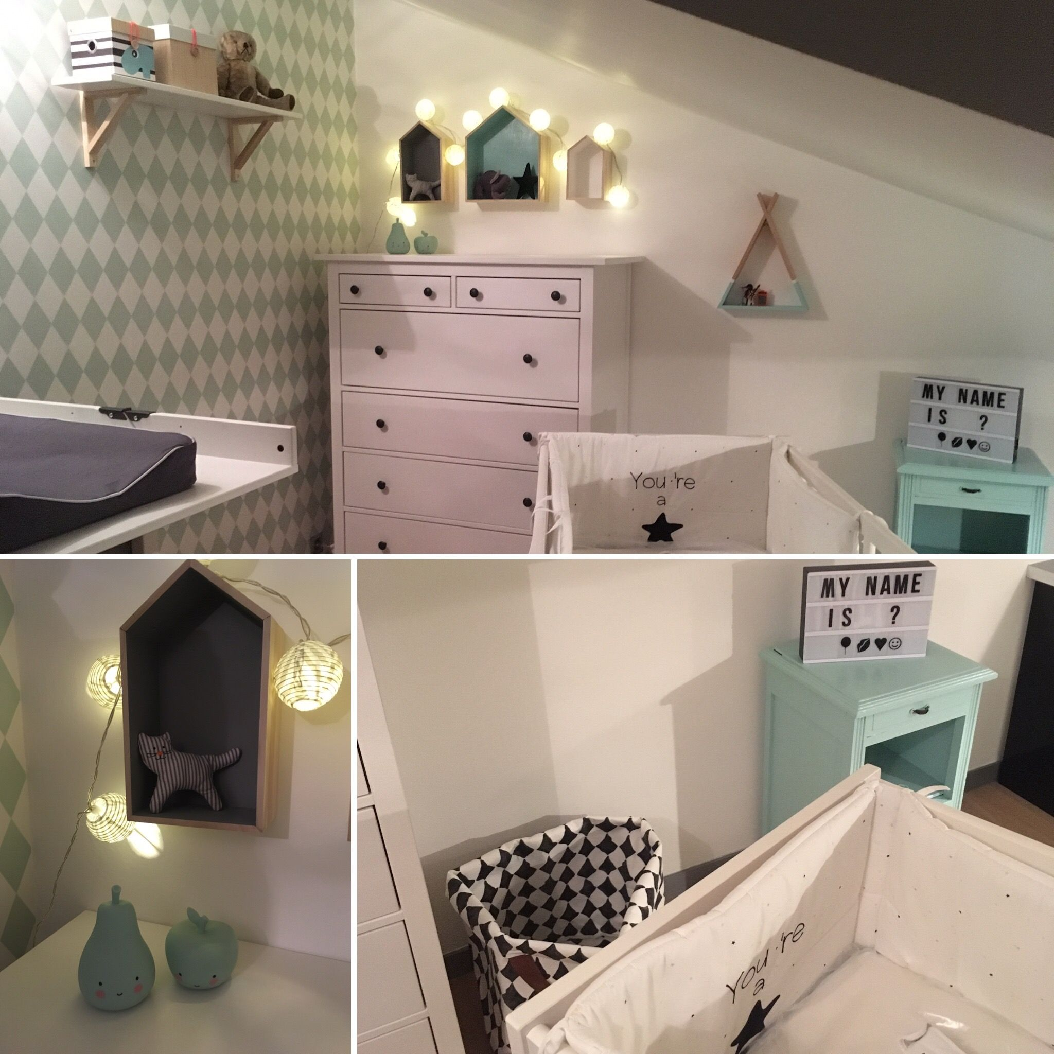 chambre baby boy bb garon vert menthe tapisserie losange harlequin - Chambre Loft Bebe