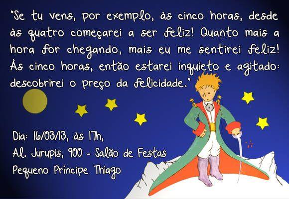 Convite De Aniversário Pequeno Príncipe Tamanho 10x15 Cm Impressão