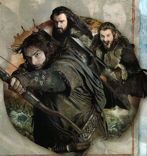 MY THREE FAVORITE DWARVES: Kili, Thorin, and Fili... Ha I have a feeling it's cause they're the three only hot dwarves...<--- and Bofur