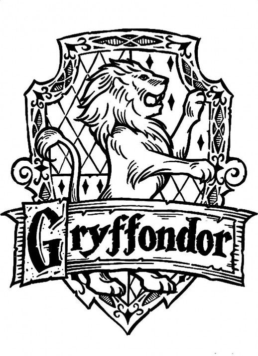 Symbol Of Gryffondor A Standing Lion Harry Potter Coloring Pages