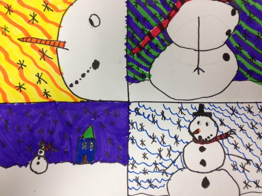 3rd Grade Art Lessons Third Graders Drew Snowmen From Four