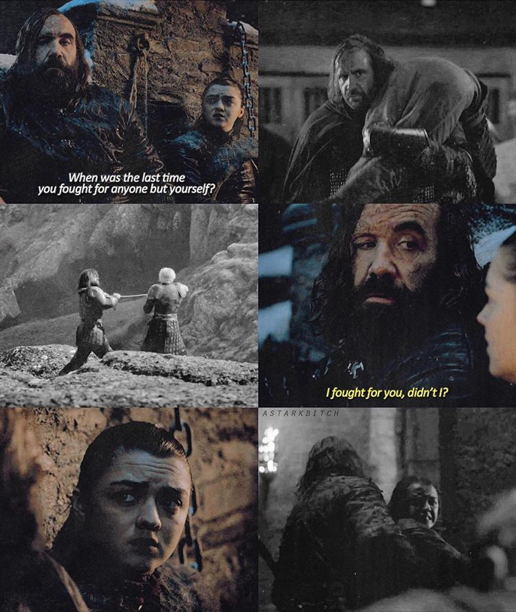 The Hound and Arya. Episode 3, Season 8, Game of Thrones