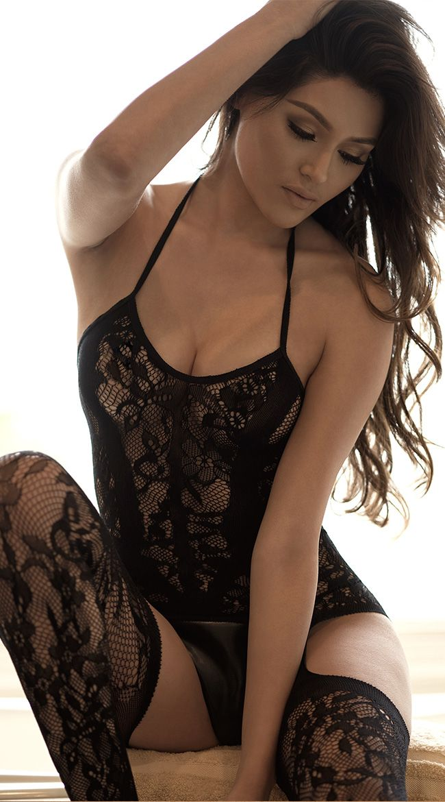 979c02c89302f Lace Garter Halter Dress with Attached Stockings