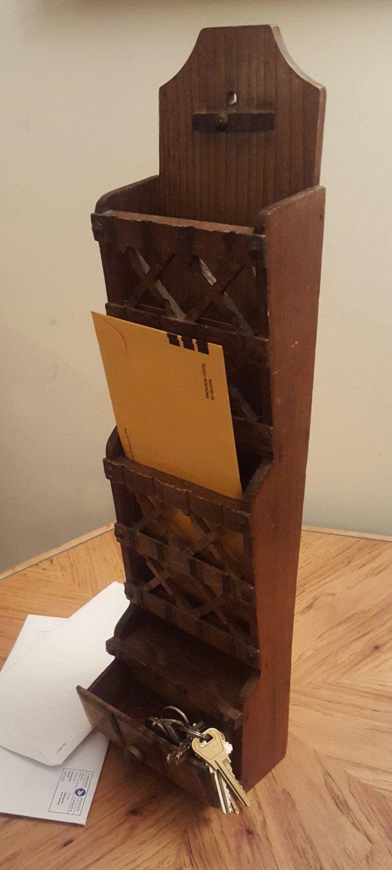 Vintage Wood Letter Holder Hanging Letter Holder Home and Living