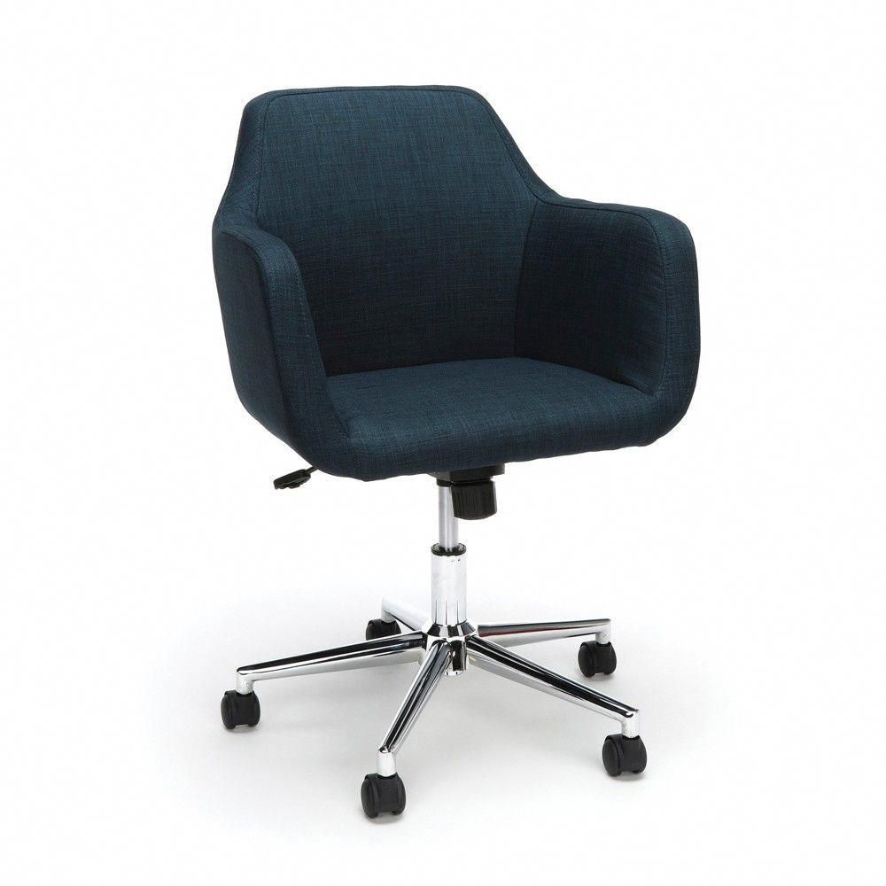 Upholstered Adjustable Home Office Chair With Wheels Blue Ofm Homeofficefurnitureapartmen Upholstered Office Chair Home Office Chairs Upholstered Desk Chair
