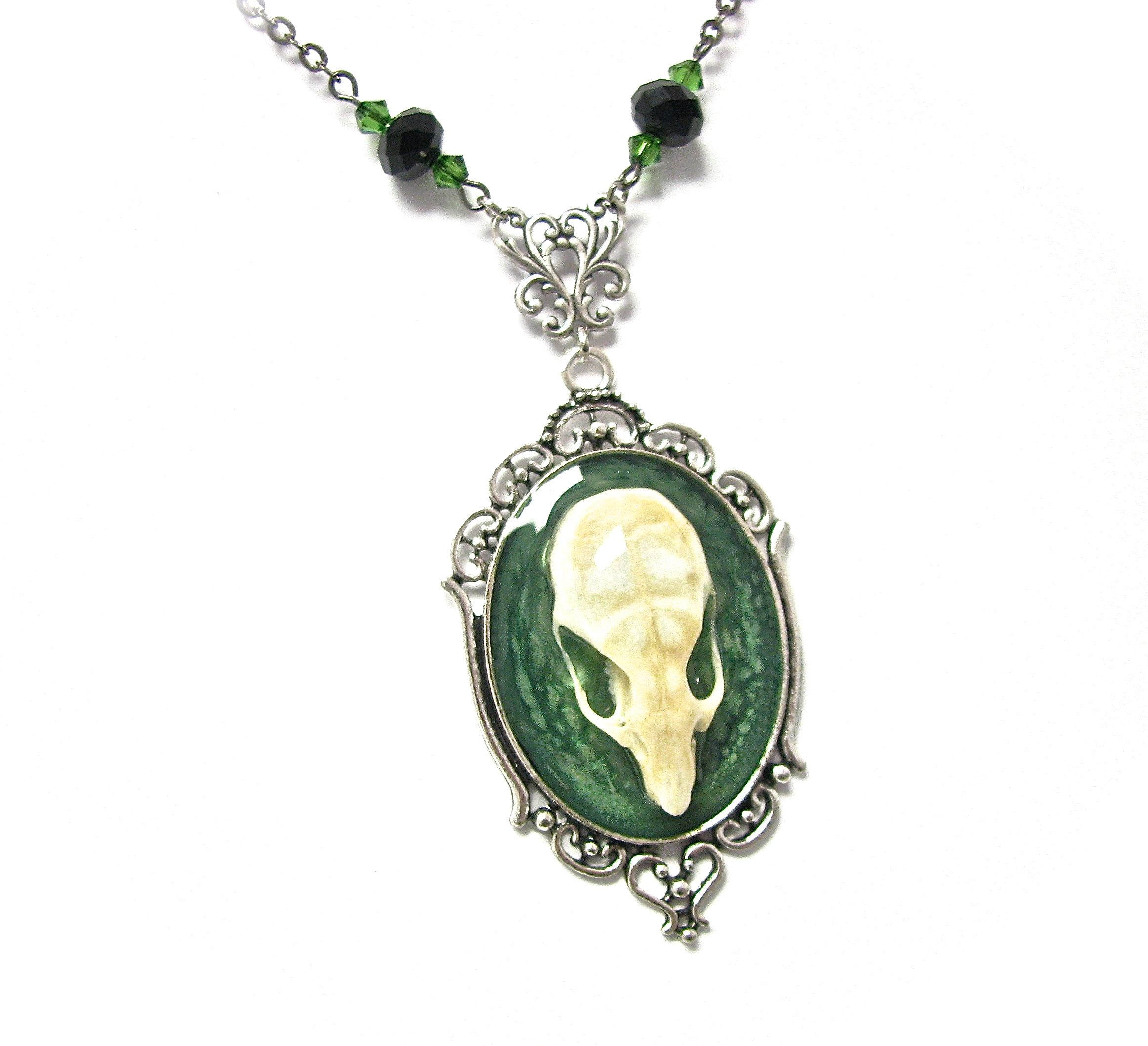 kingfisher listing zoom bone fullxfull painted skull with real neon necklace green il