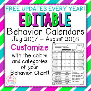 EDITABLE Behavior Calendars 2017-2018 *FREE ANNUAL UPDATES