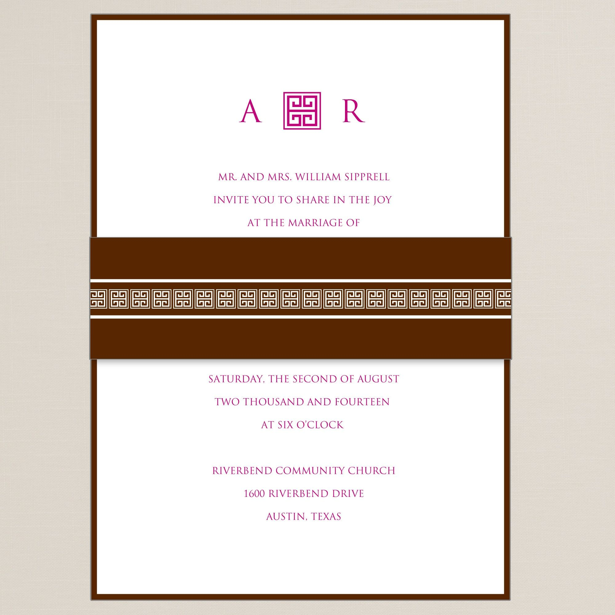 Greek Beauty Wedding Invitation