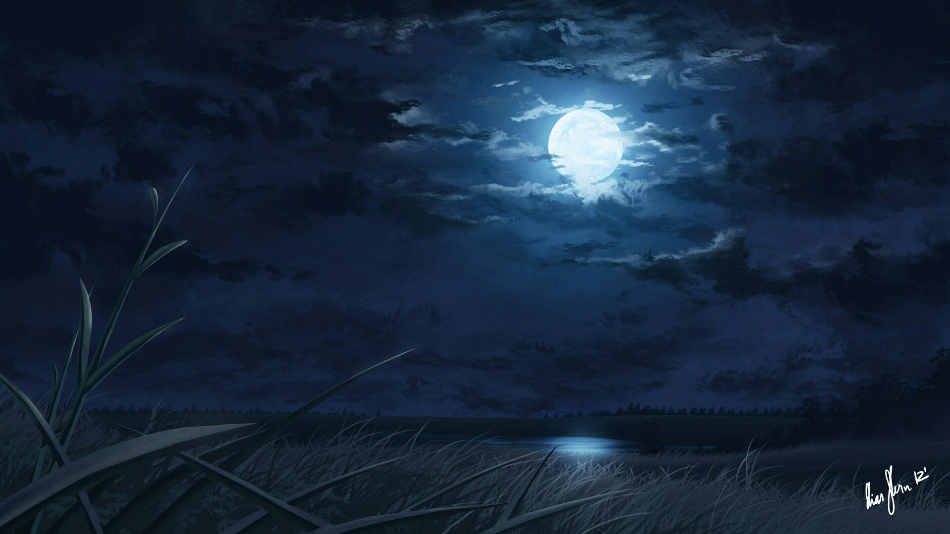 Full Moon Sea Clouds Grass Moon Painting Anime Scenery Night Background