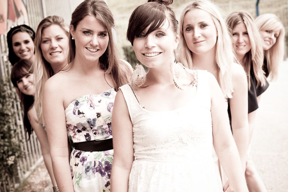 Vriendinnengroep op de foto