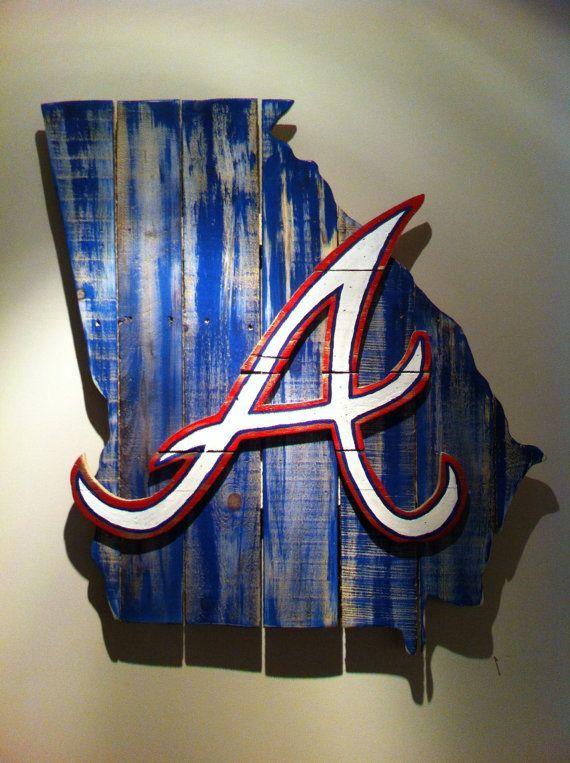 Atlanta Braves Bedroom Decor: Wooden State Of Georgia With Atlanta Braves Logo