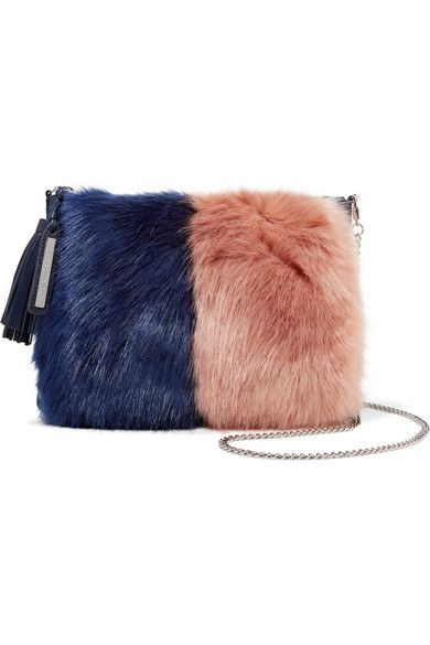 Loeffler Randall Two Tone Faux Fur And Suede Clutch Net A Porter Com Sumki Meh Aksessuary
