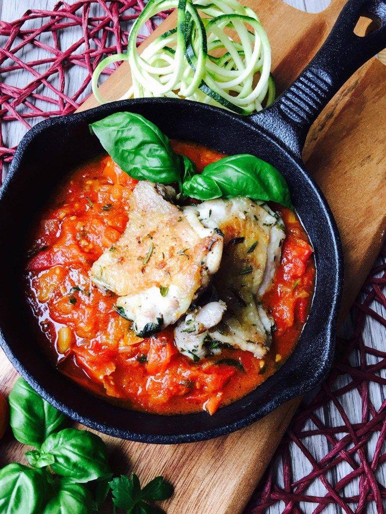 zucchini spaghetti mit basilikum knoblauch h hnchen so lecker rezepte low carb lchf. Black Bedroom Furniture Sets. Home Design Ideas