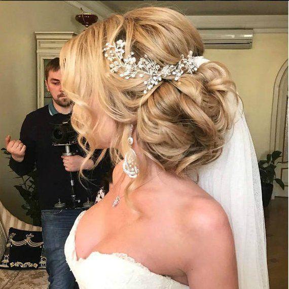 Hochzeitshaarrebe Brauthaarteil Baby Atemgirlande Perlenkopfstück Brauthaarbrosche Kristallha... #hairpiecesforwedding