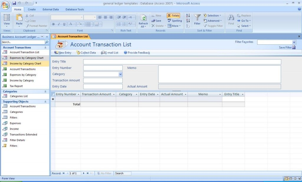 General Ledger Accounting Access Database Template – Accounting Ledgers Templates