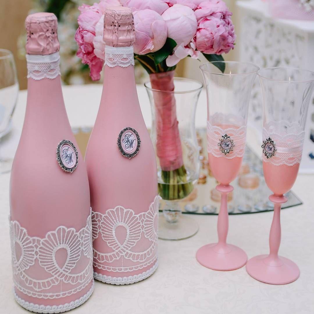 Бутылка и бокалы на свадьбу своими руками фото фото 137