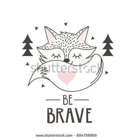 Scandinavian Style Poster For Nursery Cute Fox Vector Illustration Fox Crafts Fox Illustration Cute Fox