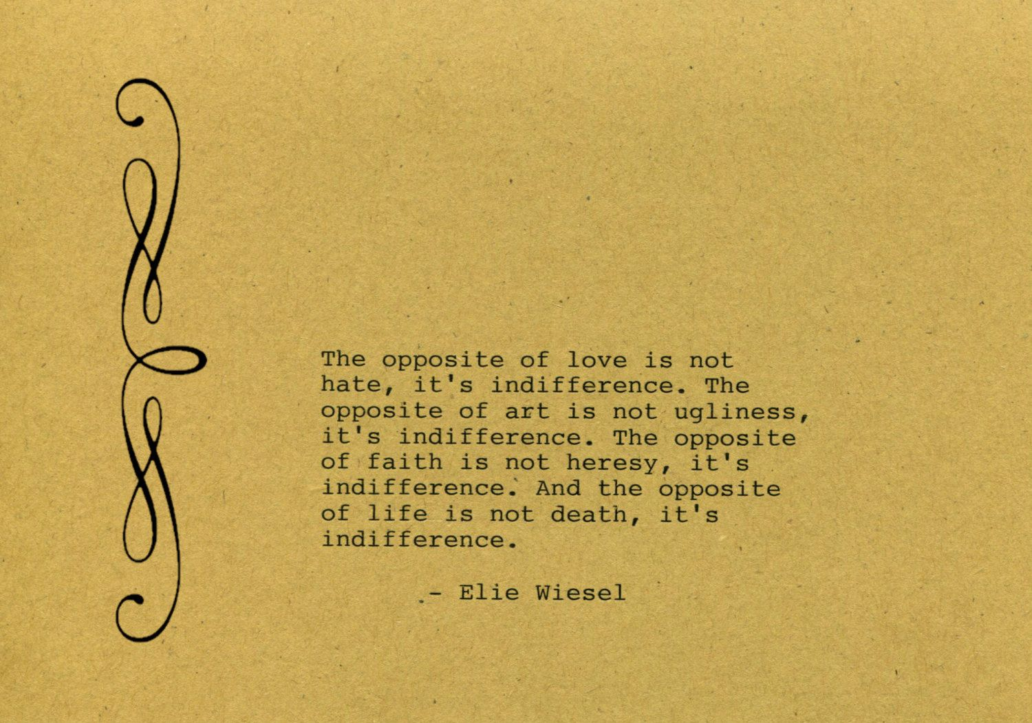 Elie Wiessel Quote Made on Typewriter Art Quote Wall Art - The ...
