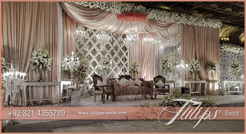 Pink White Pakistani Wedding Stage Setup Ideas By Tulips