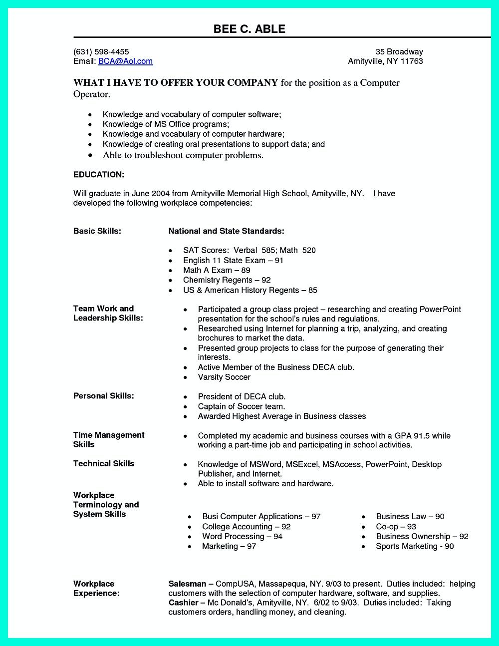 What You Will Include In The Computer Science Resume Depends On The Training As Well As The Previous Experi Resume Skills Section Resume Skills Resume Examples