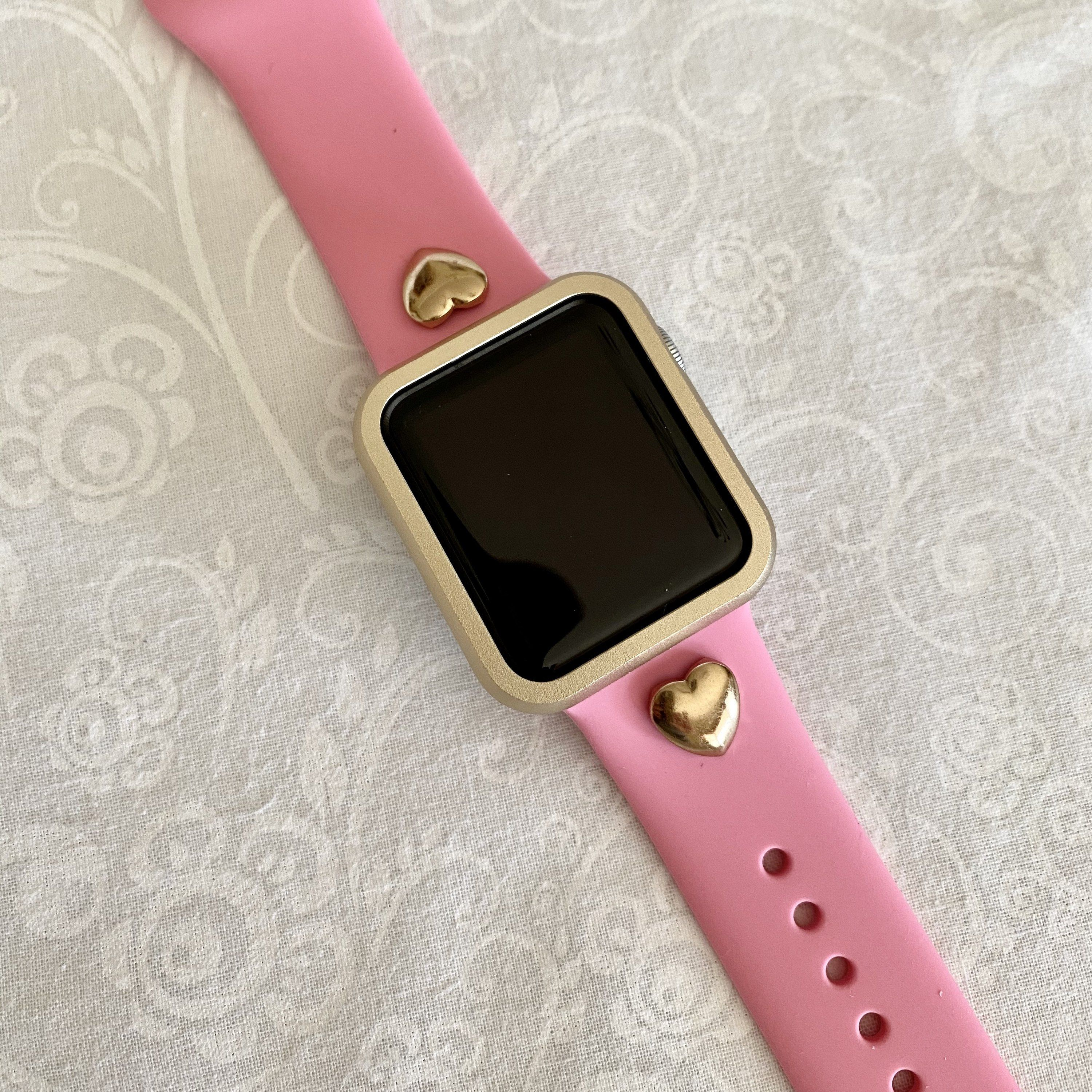Apple Watch Band Hot Pink Silicone Heart Rivet Band 38mm 40mm 42mm 44mm Series 1 2 3 4 5 6 Gold Hearts Wit Apple Watch Bands 38mm Apple Watch Band Apple Watch