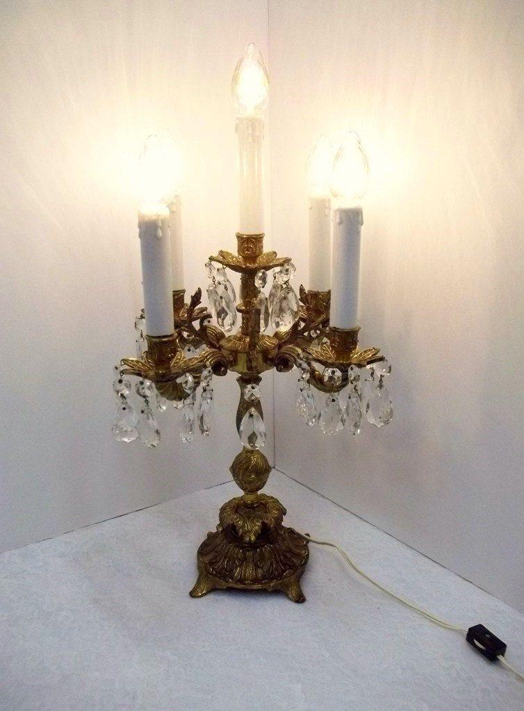 Reserved For Kittie   Vintage Five Light Ornate Brass Crystal Candelabra  Electric Crystal Chandelier Lamp Crystal Table Chandelier DD 571