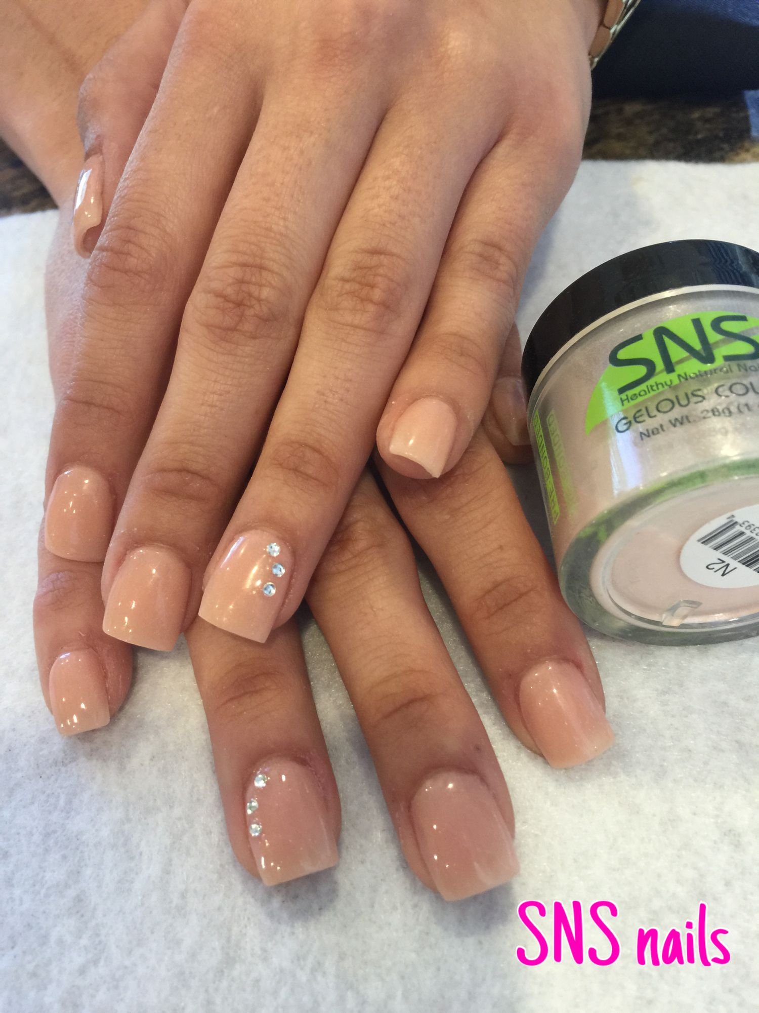 Full set SNS nails with gelous color from SNS Nude Collection (N2 ...
