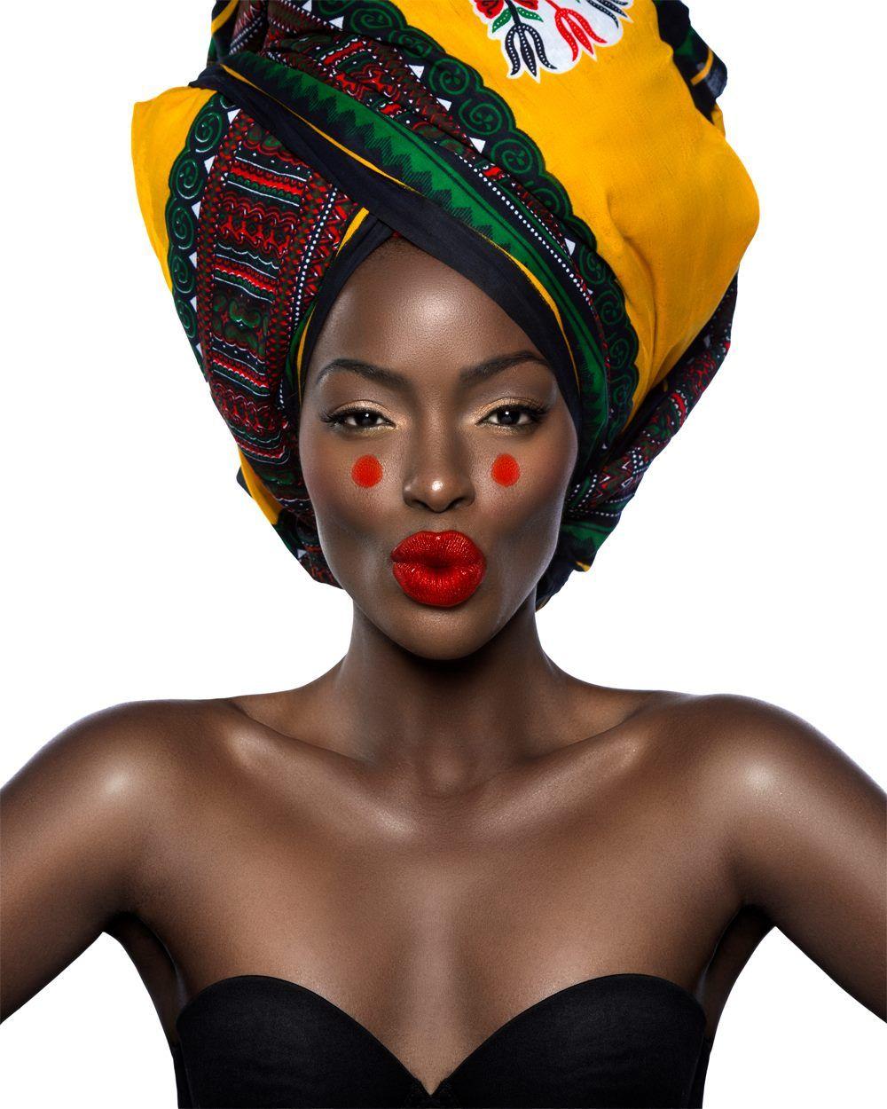 Beauty shoot, African, dark skin, turban Model: Astrid Tshidibu ...