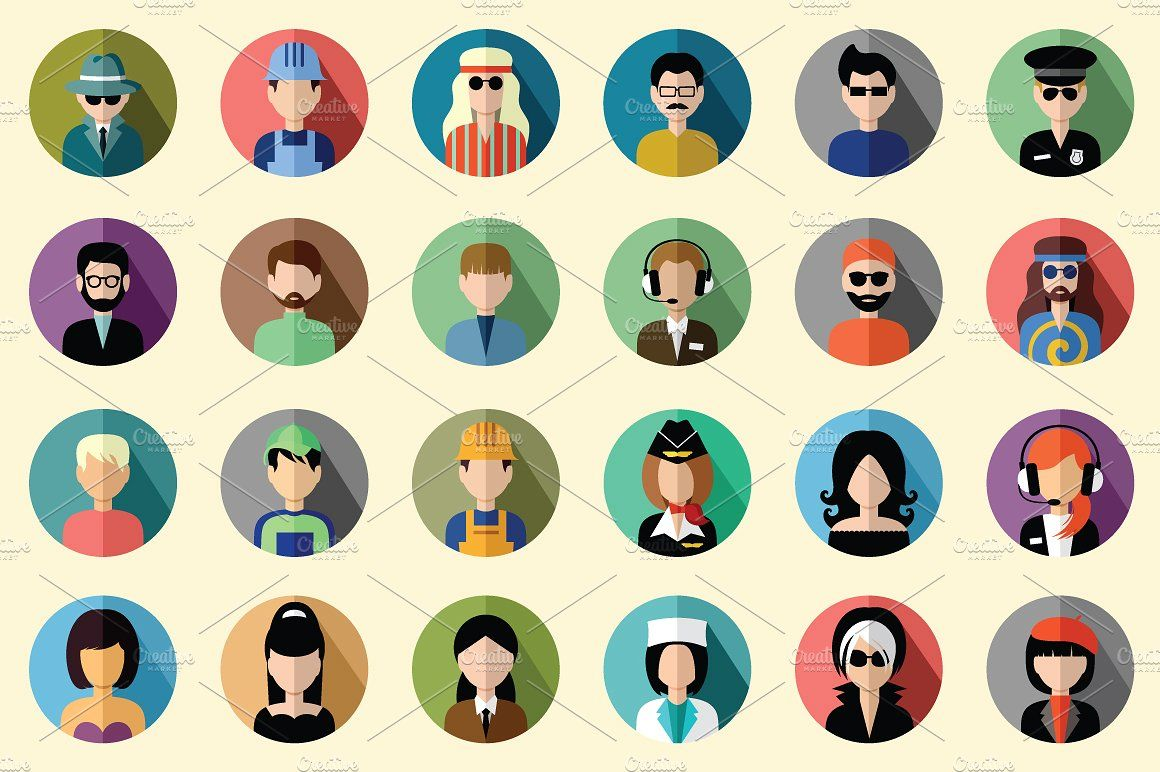 108 flat round avatar icons Cartoon character design