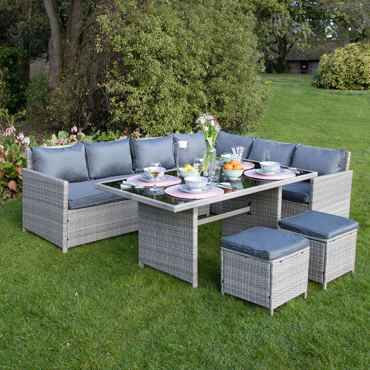 Florence Rattan Corner Sofa Set 9 Piece - Home Store + More in