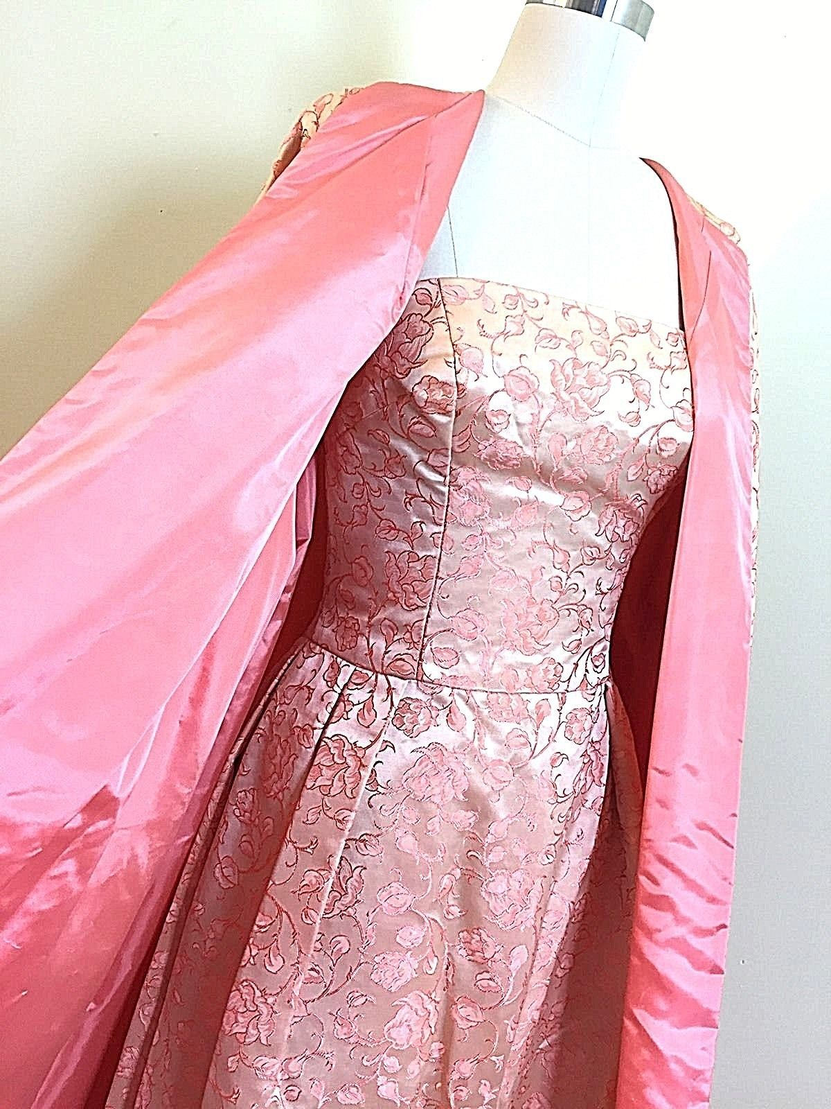 True Vintage 1950s Vogue Pink Gown Dress Opera Coat Prom Formal 34 ...