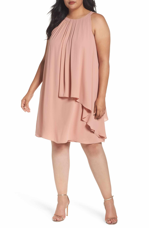 Main Image London Times Halter Style Tiered Georgette Shift Dress Plus Size Plus Size Dresses Plus Size Vintage Dresses Plus Size Fashion For Women